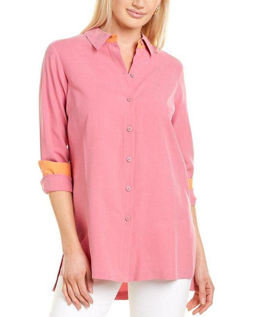 Go> By Go Silk Red Go>silk Silk Big Shirt