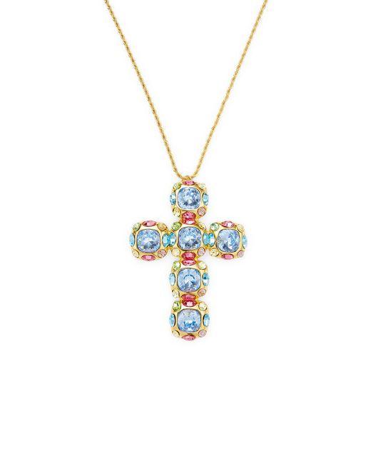 Kenneth Jay Lane - Metallic Multi-stone Cross Necklace - Lyst