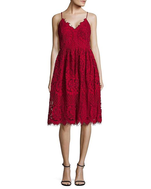 Nicole Miller Red Lace Fit-&-flare Dress