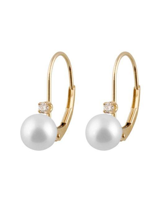 Splendid - Metallic 14k .06ct. Diamond 6-6.5mm Japanese Akoya Pearl Earrings - Lyst
