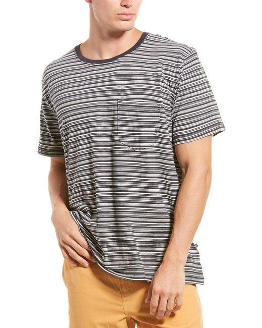 Billy Reid Blue Stripe Pocket T-shirt for men