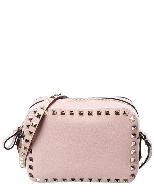 Valentino Garavani Pink Rockstud Leather Camera Bag