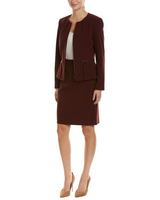Tahari Red Tahari Asl 2pc Skirt Suit