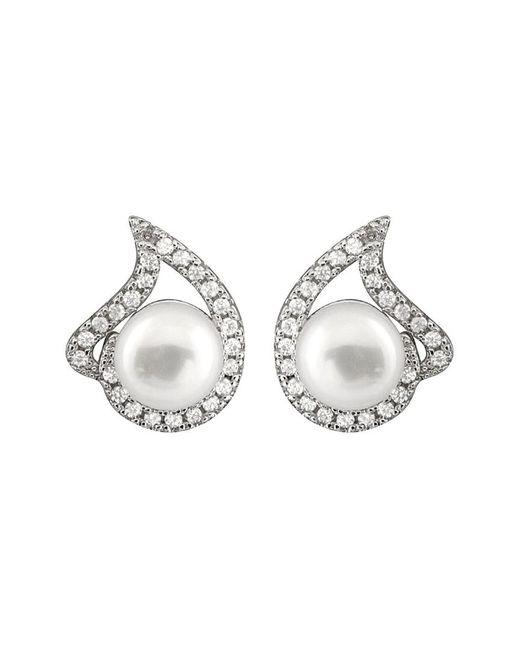 Splendid Metallic Rhodium Plated 7.5-8mm Pearl & Cz Earrings