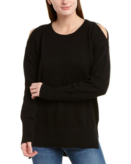 BCBGMAXAZRIA Black Cold-shoulder Pullover