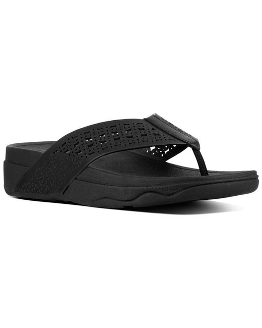 a21eb8f97 Lyst - Fitflop Surfa Floral Lattice Leather Sandal in Black - Save 51%