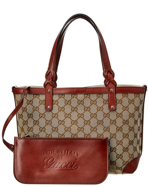 ca604c75a57 Lyst - Gucci Brown GG Canvas   Red Leather Craft Tote in Brown