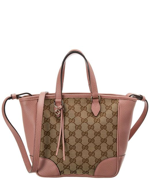 Gucci - Brown GG Canvas & Pink Leather Small Bree Tote - Lyst