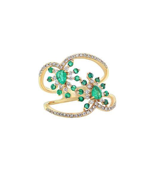 Diana M Green . Fine Jewelry 14k 0.93 Ct. Tw. Diamond & Emerald Ring