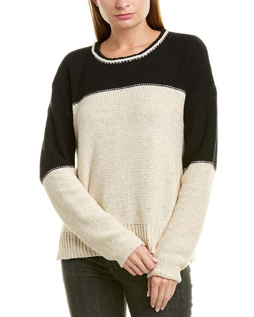 James Perse Brown Colorblocked Sweater