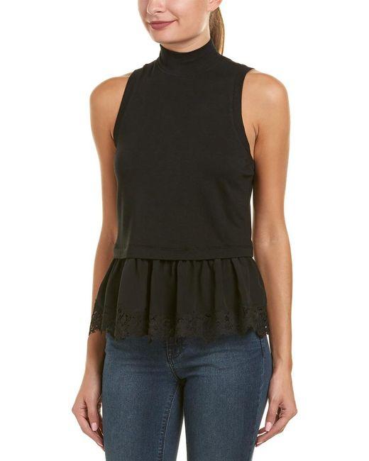 Rebecca Taylor Black Terry Silk-trim Top