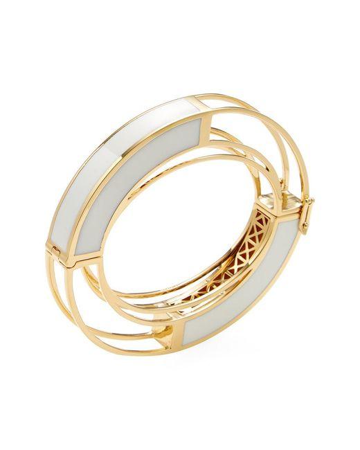 Eddie Borgo - Metallic 18k Yellow Gold Plated Circle Frame Bangle - Lyst
