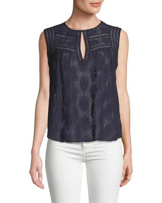 Rebecca Taylor Blue Selina Embroidered Top