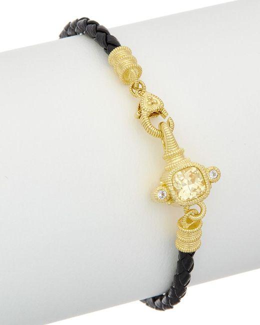 Judith Ripka - Multicolor 14k Over Silver & Leather 0.12 Ct. Tw. White Topaz & Cz Bracelet - Lyst