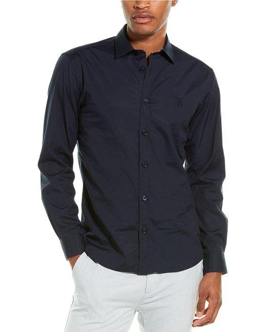 Burberry Blue Monogram Motif Stretch Poplin Woven Shirt for men