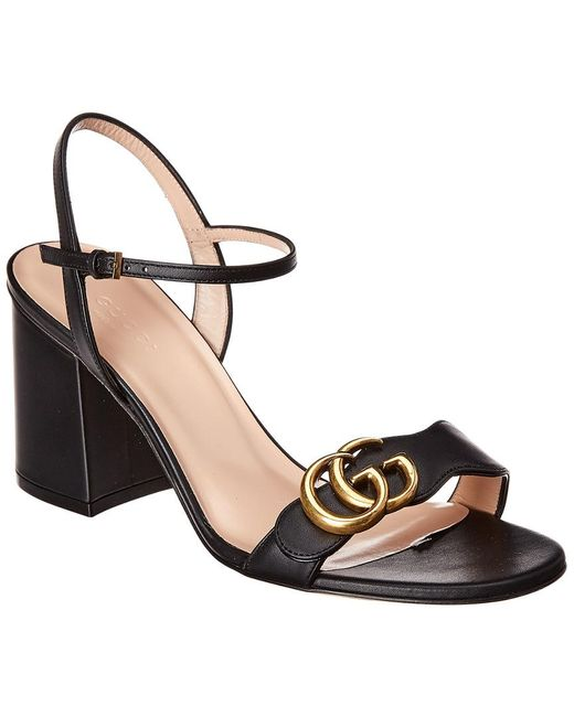 Gucci Black GG Marmont Block-heel Leather Sandals