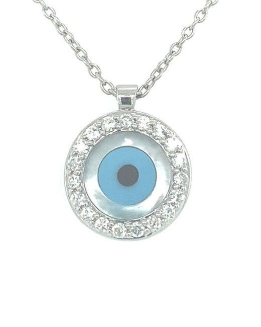 Sabrina Designs Blue 14k 0.23 Ct. Tw. Diamond Evil Eye Necklace