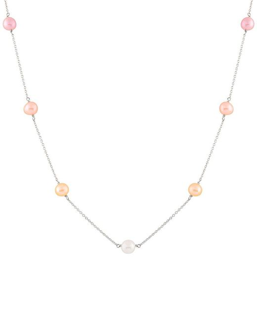 Splendid - Metallic Rhodium Plated 7-8mm Freshwater Pearl Tin Cup Necklace - Lyst