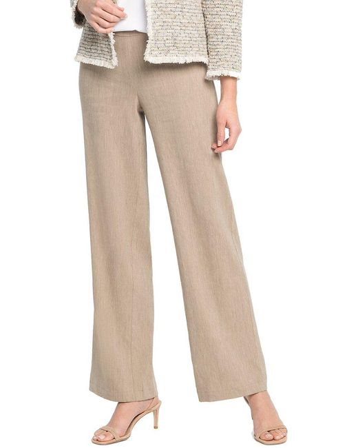 NIC+ZOE Brown Here Or There Linen-blend Pant