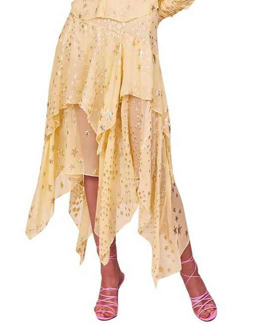 LoveShackFancy Yellow Alex Silk-blend Skirt