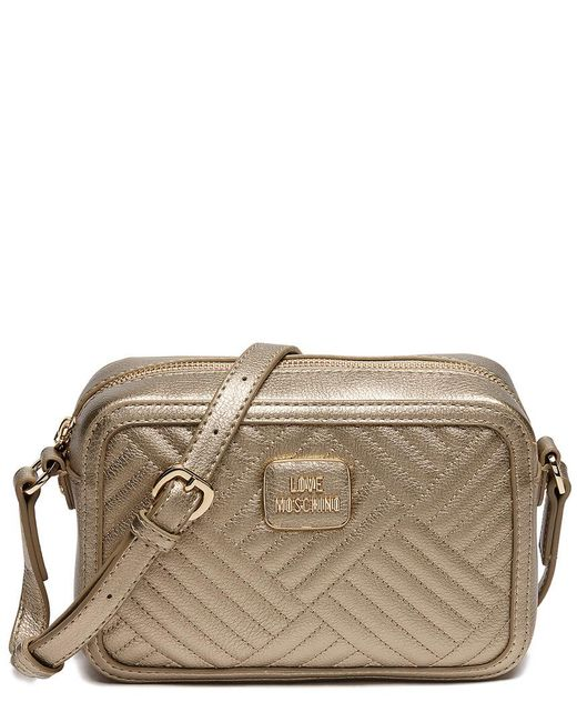 8c81171b709 Love Moschino - Metallic Shiny Quilted Leather Clutch Bag - Lyst ...
