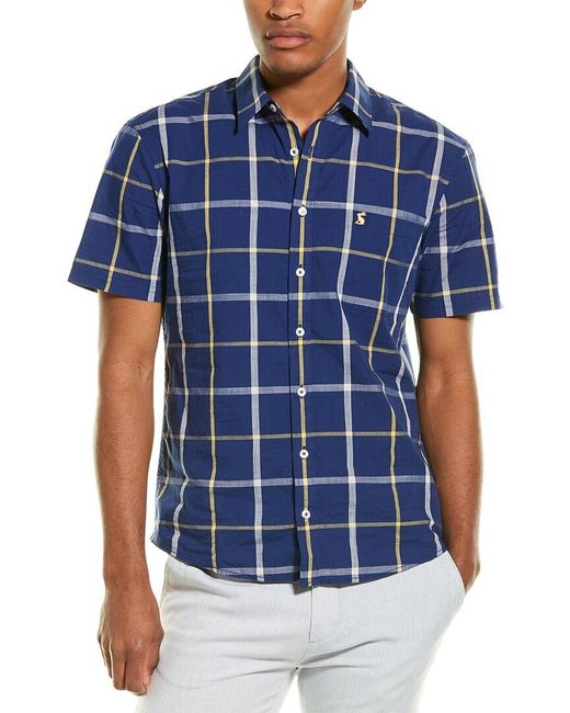 Joules Blue Wilson Classic Fit Woven Shirt for men