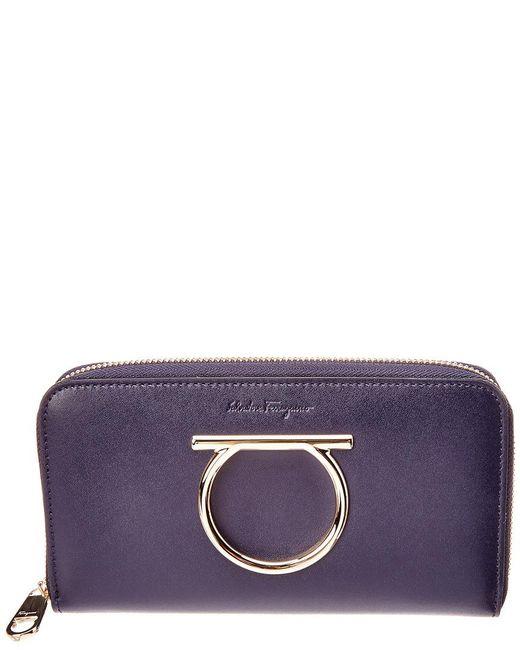 Ferragamo - Blue Gancini Leather Zip Around Wallet - Lyst