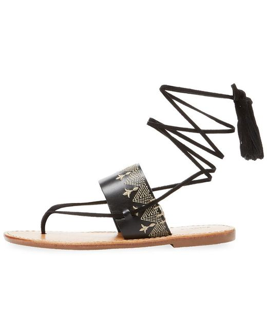 35a300ab6324 Lyst - Soludos Embroidered Leather Sandal in Black - Save 10%