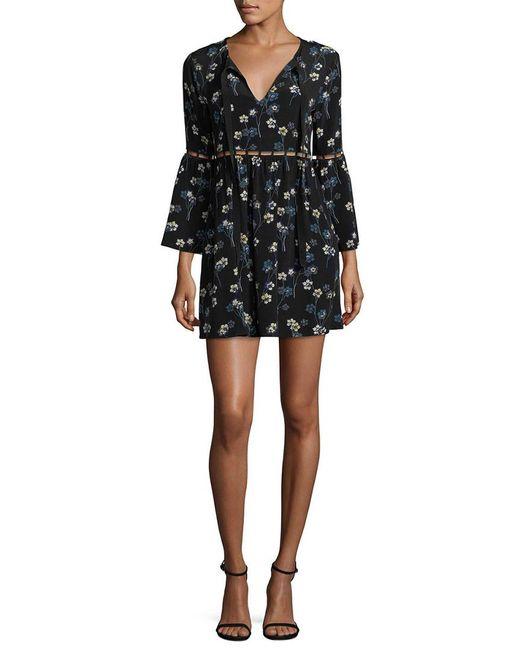 Ella Moss Black Floral Crewneck Dress