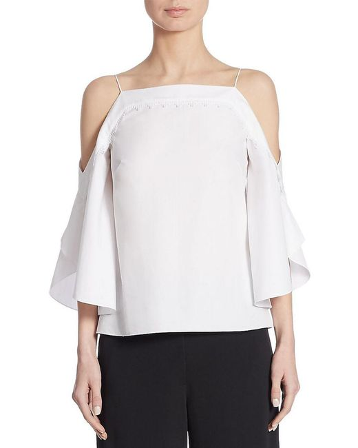 Peter Pilotto - White Cotton Cold Shoulder Top - Lyst
