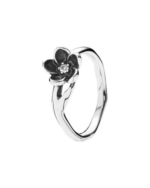 Pandora - Metallic Mystic Floral Silver Cz Flower Ring - Lyst