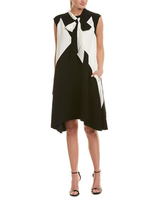 Givenchy Black Colorblocked Silk-lined Shift Dress
