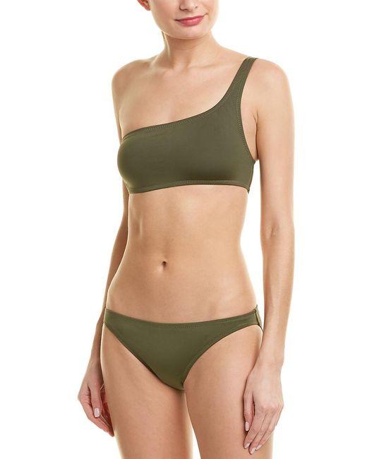 Proenza Schouler Green 2pc One-shoulder Bikini Set