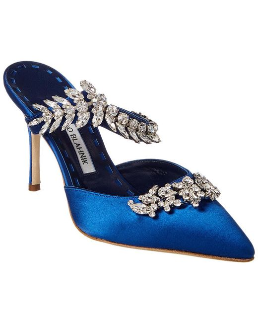 ae76c7d0add5d ... low cost manolo blahnik blue lurum 90 satin pump lyst 6e499 6c8c9
