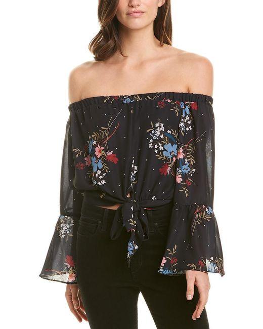Parker Black Off-the-shoulder Floral Bell Sleeve Blouse