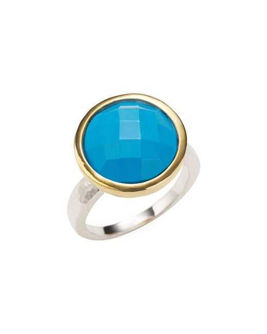 Gurhan - Metallic Silver, Gold & Turquoise Cocktail Ring - Lyst