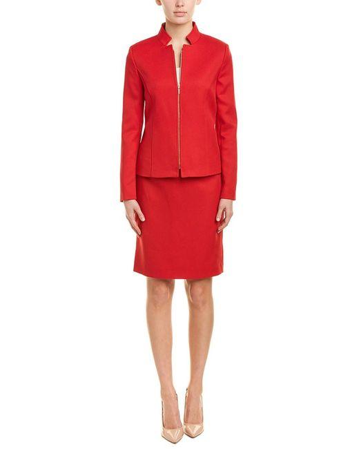 Tahari Red Tahari Asl 2pc Jacket & Skirt Set