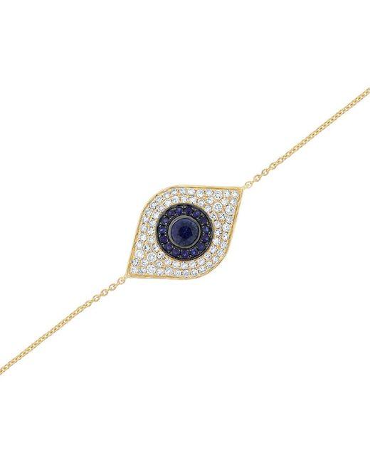 Sabrina Designs Blue 14k 0.96 Ct. Tw. Diamond & Sapphire Evil Eye Bracelet