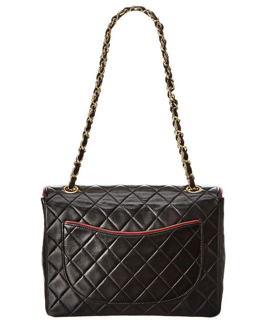 682c489b16776a ... Chanel - Black Quilted Lambskin Leather Piped Small Half Flap Bag - Lyst