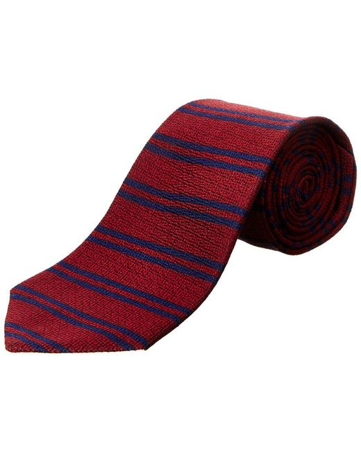 Brooks Brothers Red Burgundy Horizontal Stripe Silk Tie for men