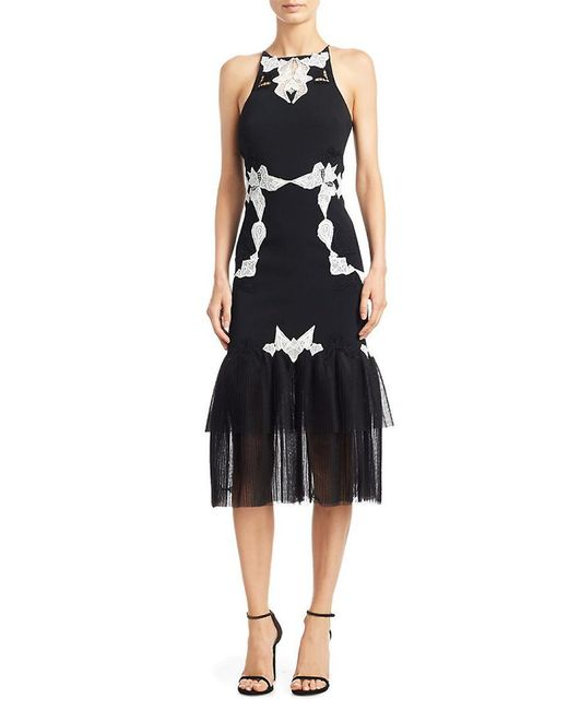 Jonathan Simkhai - Black Lace-trimmed Crepe And Pleated Tulle Dress - Lyst