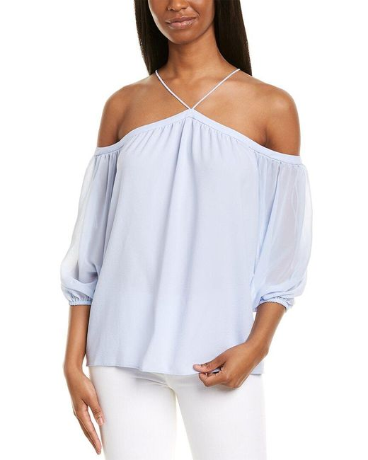 1.STATE Blue High-neck Blouse