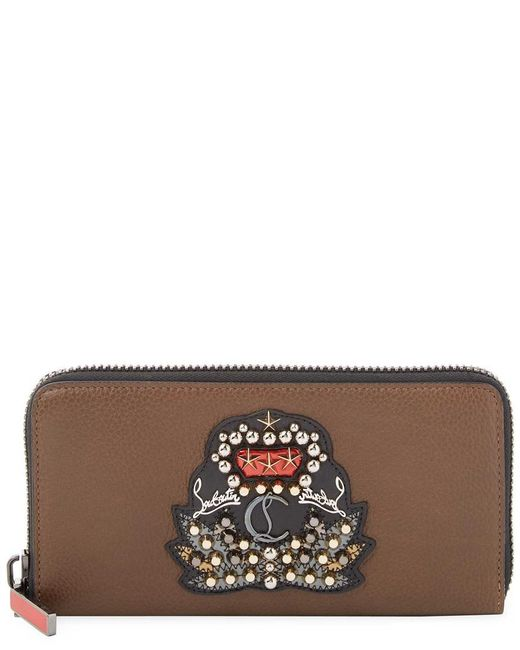 Christian Louboutin - Brown Panettone Leather Zip Around Wallet - Lyst