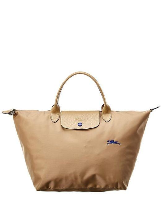 Longchamp Brown Le Pliage Club Medium Nylon Short Handle Tote