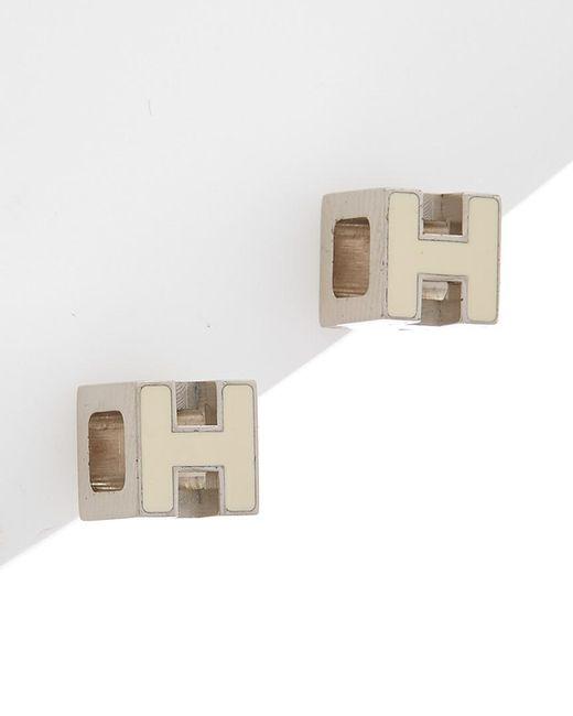 Hermès - Multicolor White Enamel Cage D'h Earrings - Lyst