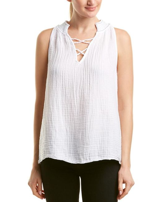 Michael Stars White Embroidered Swing Tank