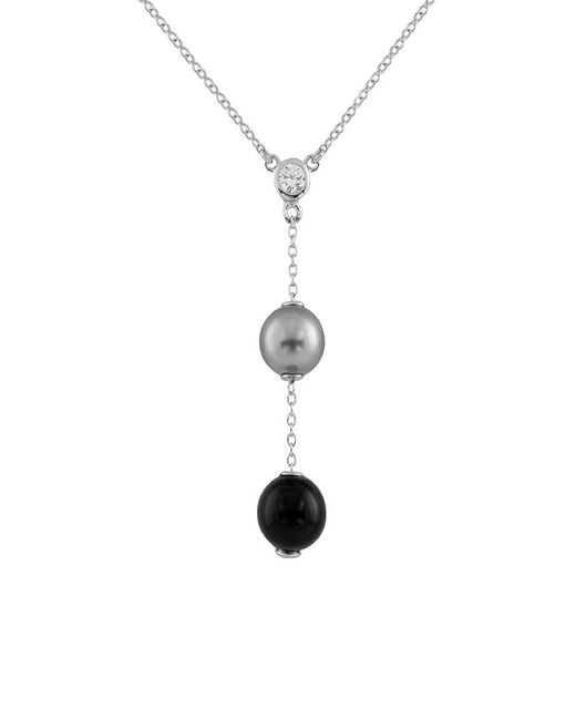 Splendid Metallic Plated Silver 10-10.5mm Freshwater Pearl & Cz Necklace