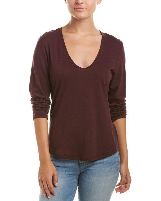 James Perse - Purple Zigzag Stitch Wool-blend T-shirt - Lyst