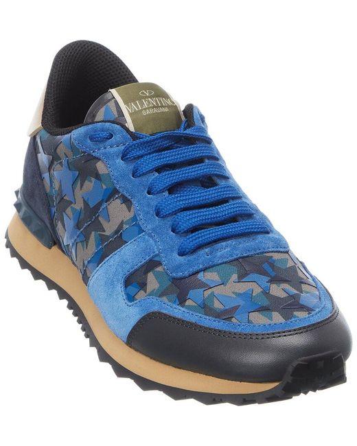 Valentino Blue Valentino Garavani Canvas & Suede Sneaker for men