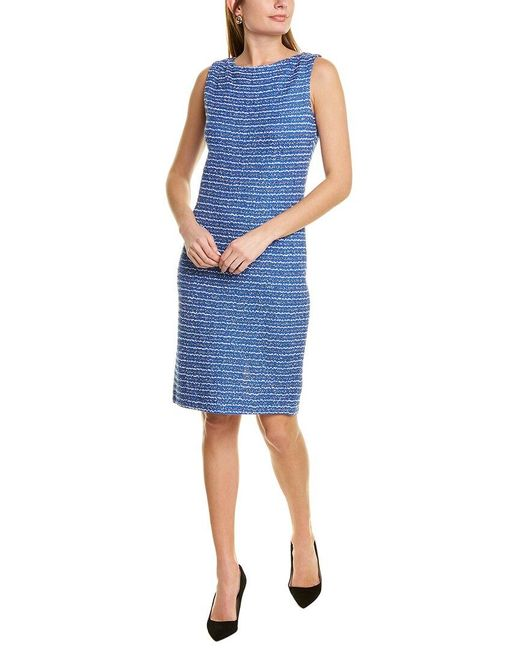 St. John Blue Tweed Wool-blend Sheath Dress